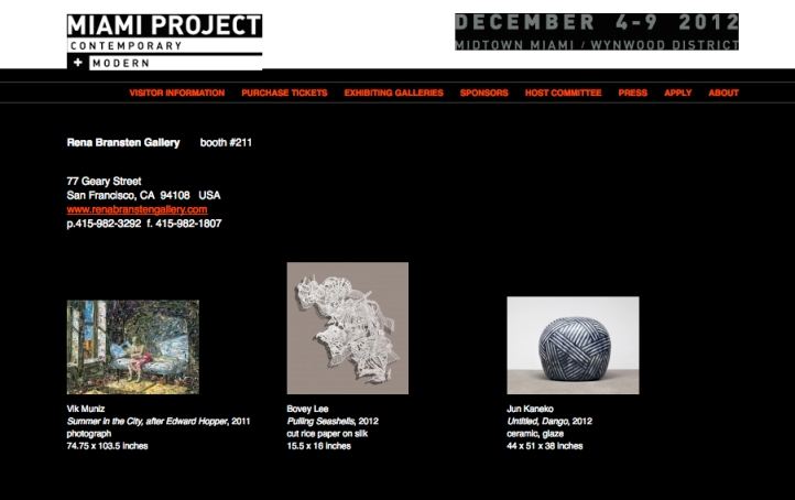 The Miami Project with Rena Bransten Gallery, December 4-9, 2012