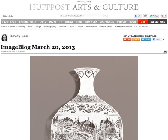 Bovey Lee's work in Imageblog, Huffington Post, March 20, 2013, screen shot